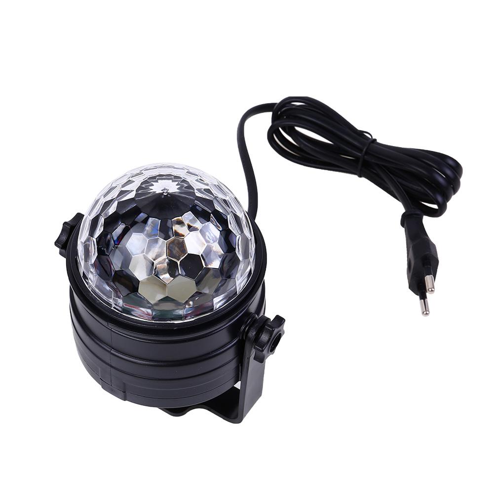 EU Plug LED New Colorful Night Light Sound Control Ball Shaped Lamp Mini Remote Control Stage Light As shown