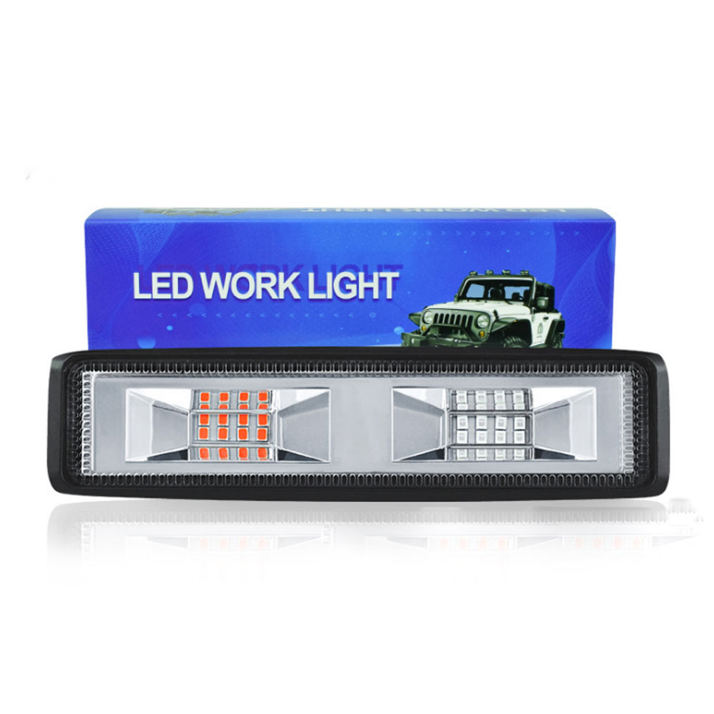 48w Car Led Working  Light In-line 16 Lights Flashing Off-road Warning Light Bars White light