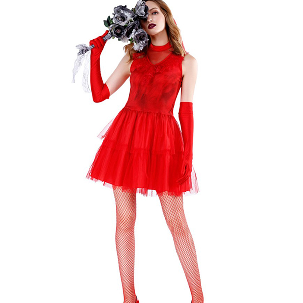 Halloween Red Ghost Bride Costume Cosplay Women Uniform Temptation DS Evening Show Performance Clothing red_L