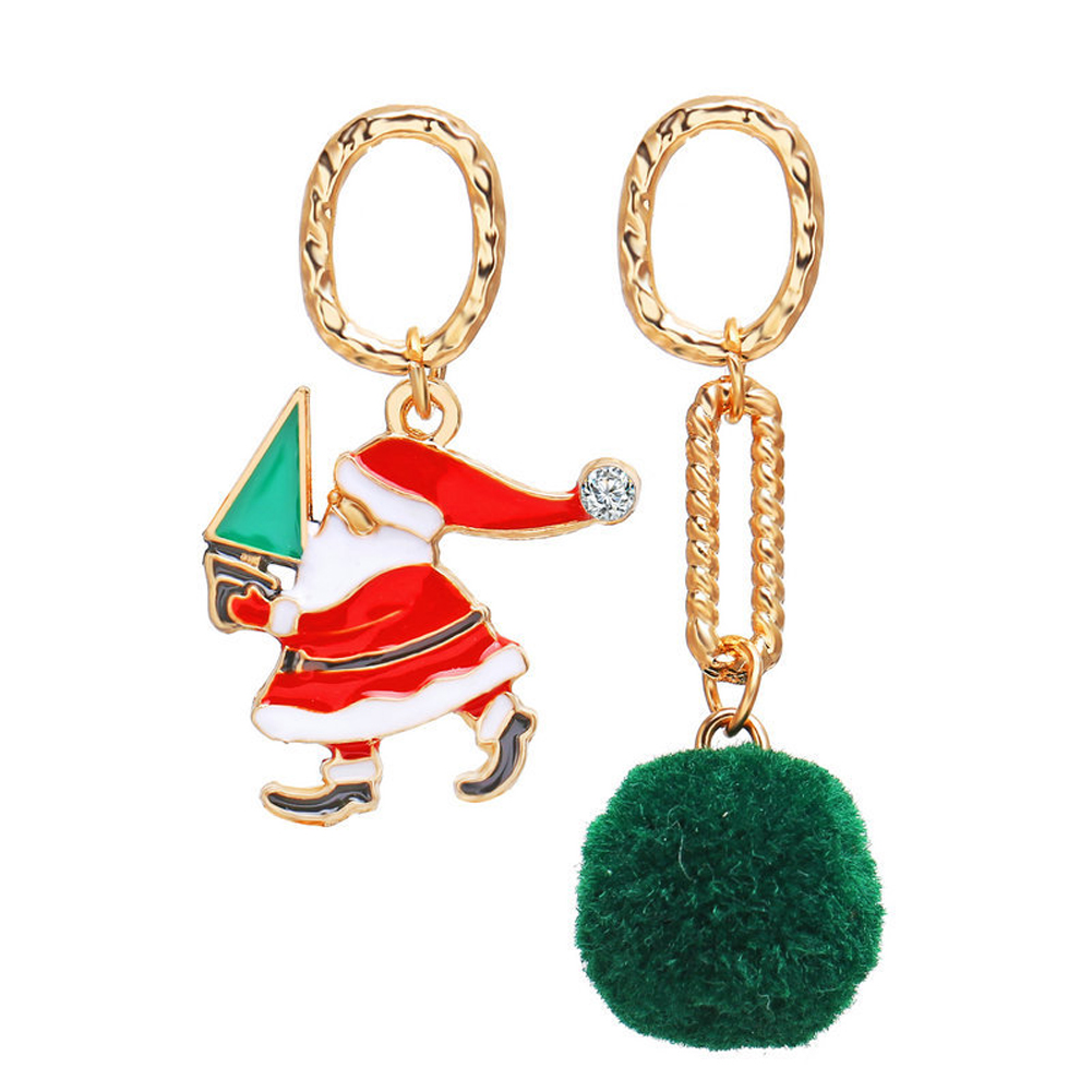 1 Pair of  Christmas Earrings  Retro Style  Ring  Hairball Pendant  Earrings Golden
