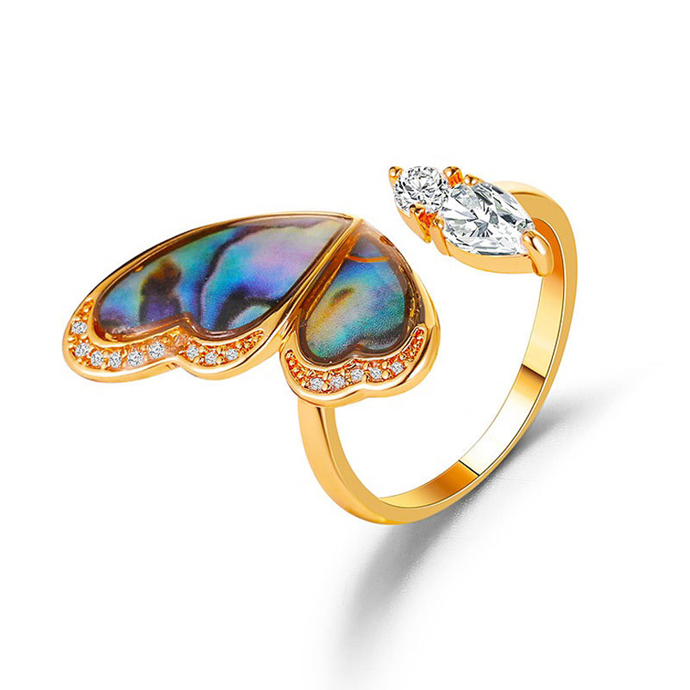 Women's Ring Seashell Wings Shape Micro-inlaid Zircon Open Ring Golden