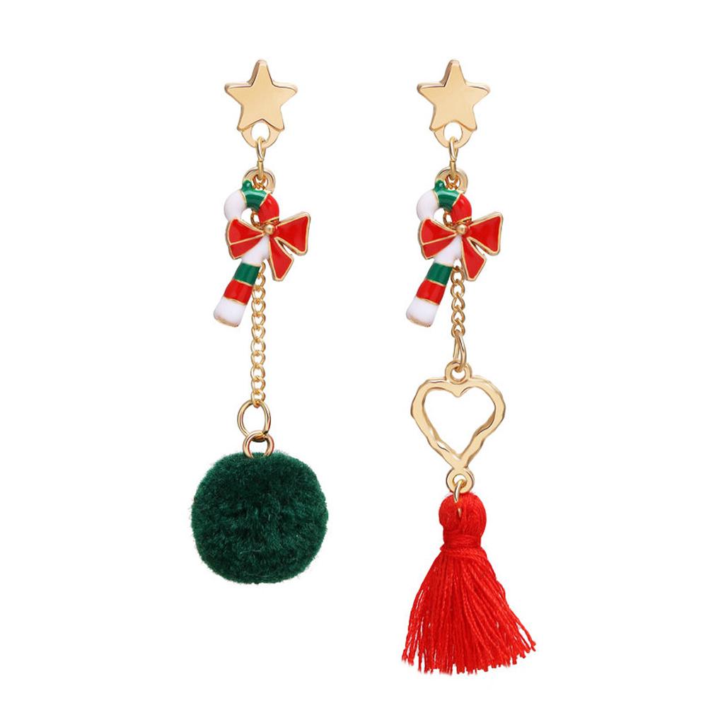 1 Pair of  Christmas Earrings   Simple Style  Star  Hairball  Tassel   Earrings Golden