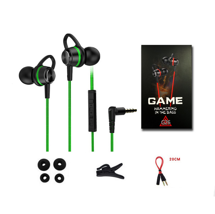 G26 Wired 3.5mm Plug In-ear Gaming Headset With Microphone For Mobile Phone Computer Green