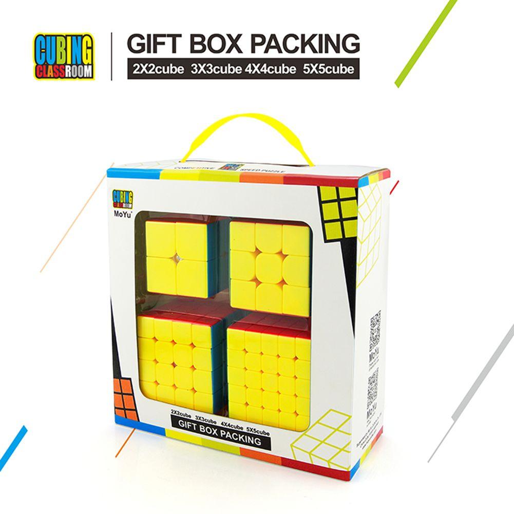 [EU Direct] 4Pcs Speed Cube Brain Teaser Gift Box Set 2x2 3x3 4x4 5x5 Stickerless Puzzle Magic Cube