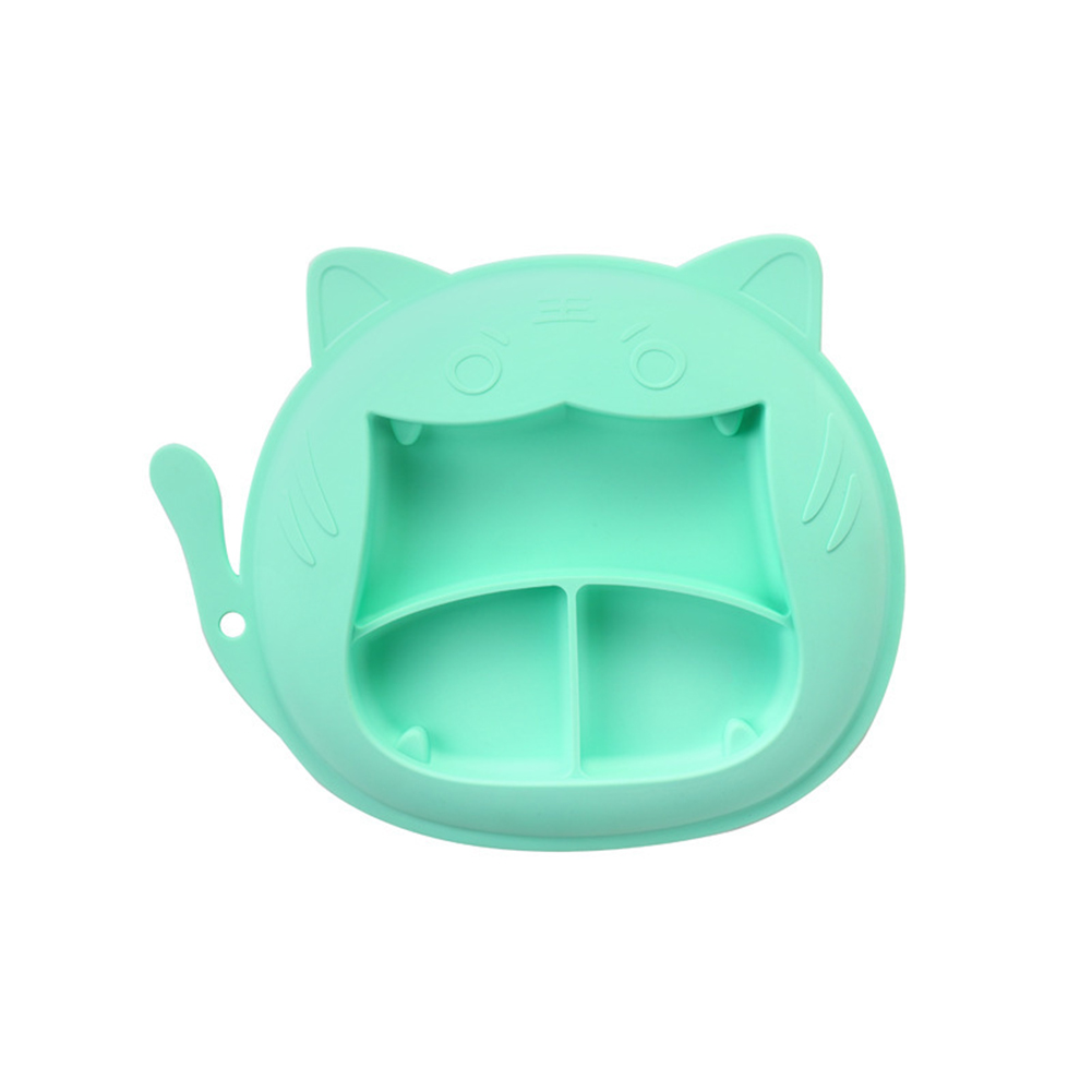 Children Dinner Plate Silicone Portable Divided Dinner Plate With Suction Cup Green-Tiger