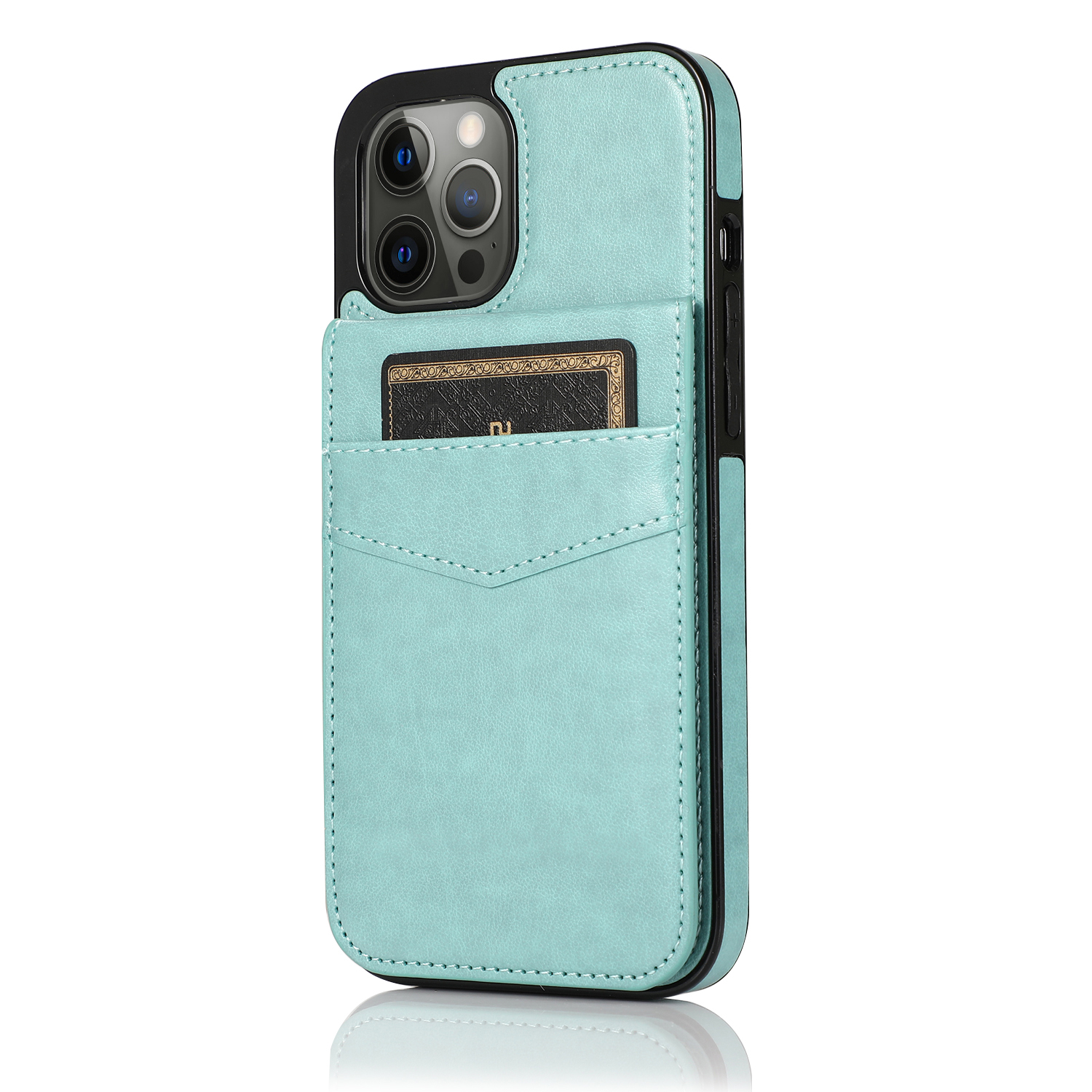 Mobile Phone Case Solid Color Plug-in Card Protective Case Cover For Iphone12 Mint Green_iphone 12promax 6.7