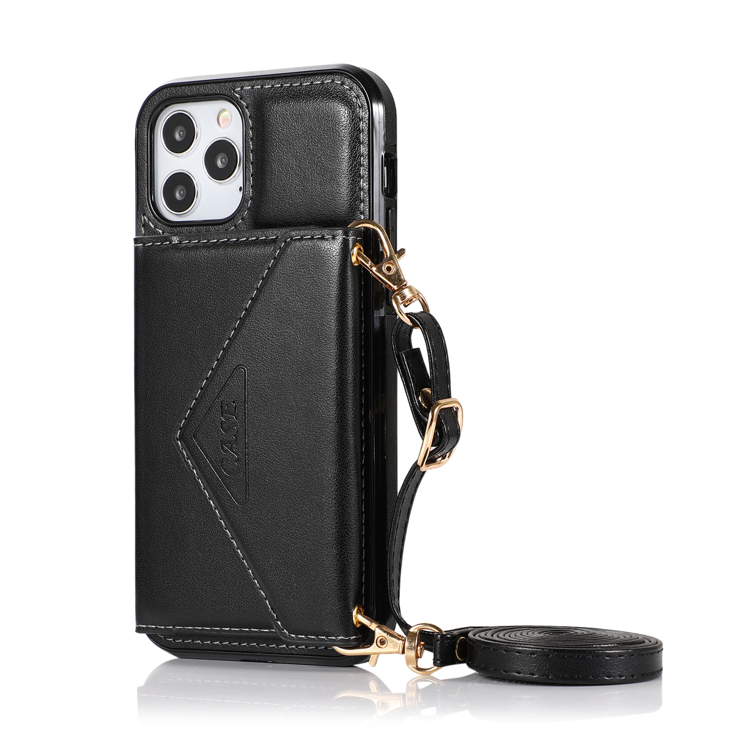 Mobile Phone Case Protective Case Cover For Iphone12/12 Pro Messenger Bag black