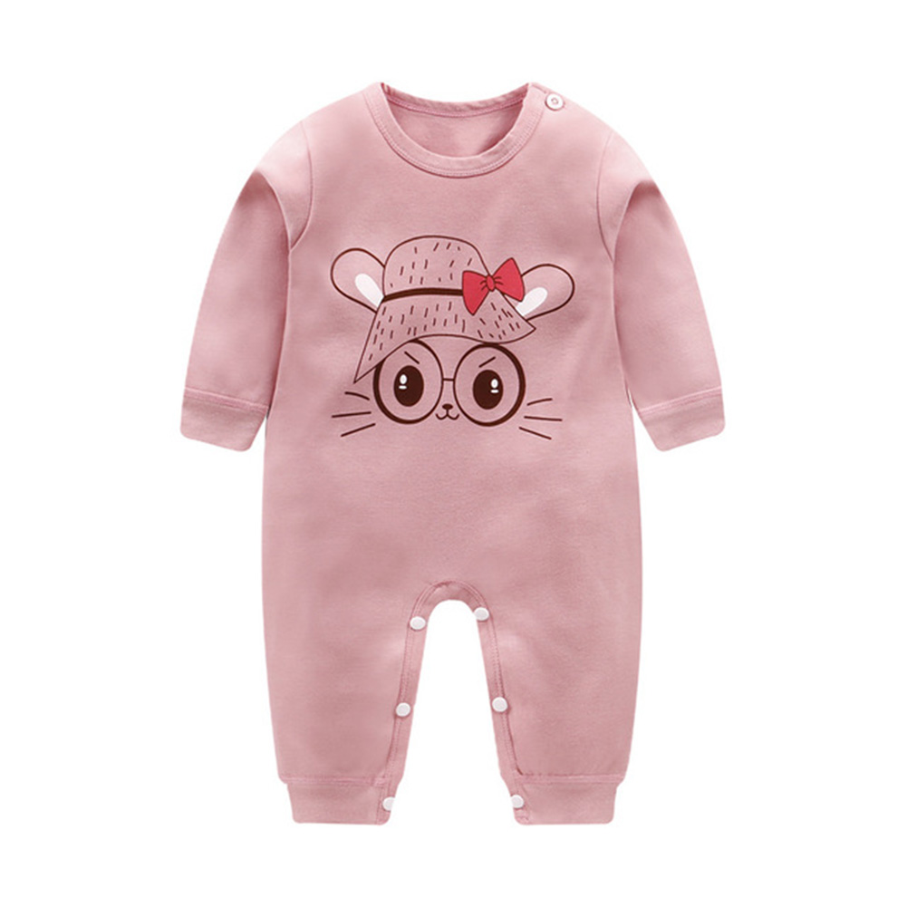 Cartoon Long Sleeve Cotton Jumpsuit for Kids Baby Boys Girls pink bunny_73CM