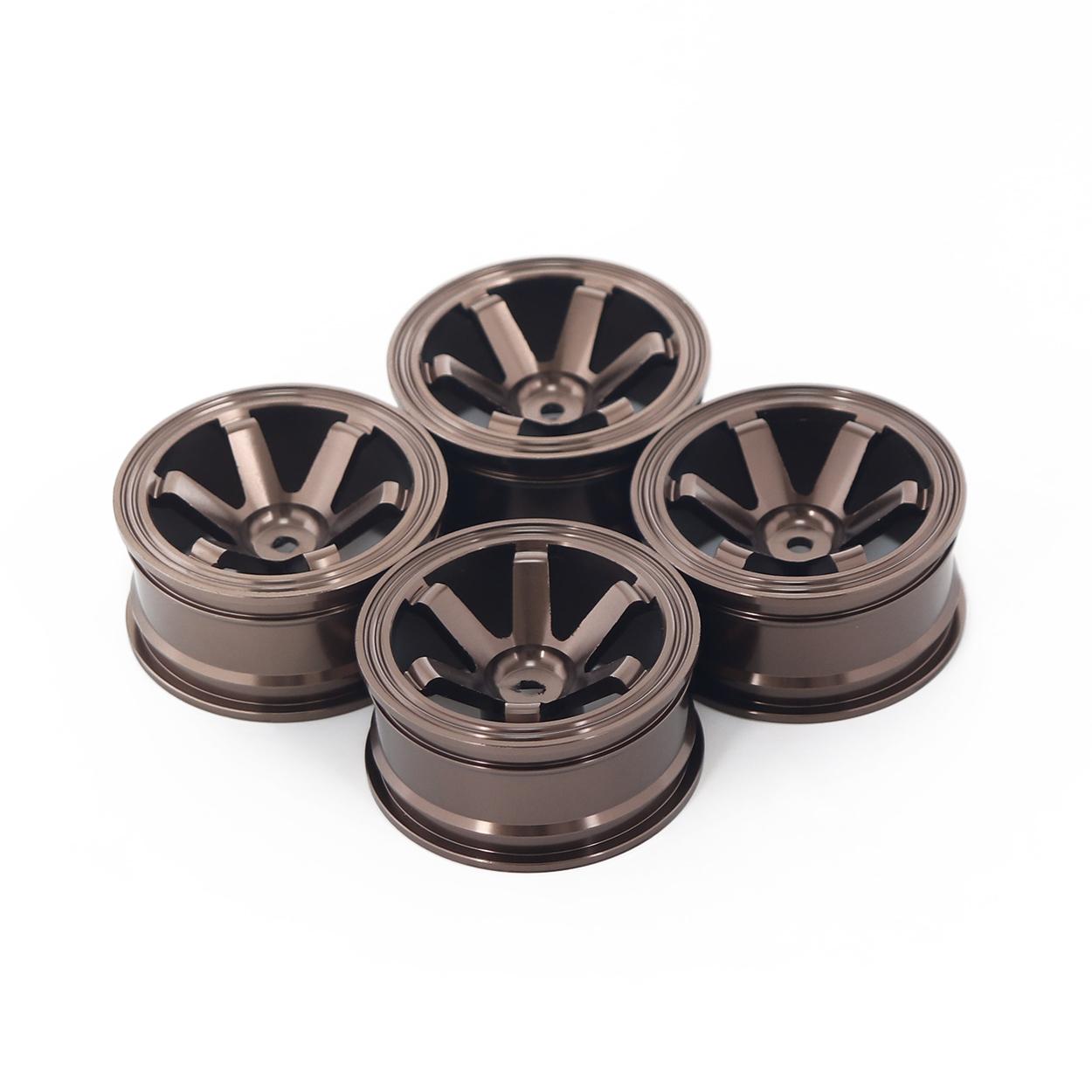 4PCS Metal Wheel Rim 1.9 Inch BEADLOCK for 1/10 RC Rock Crawler Axial SCX10 90046 AX103007 TAMIYA CC01 D90 TF2 Traxxas TRX-4 Six-spoke coffee