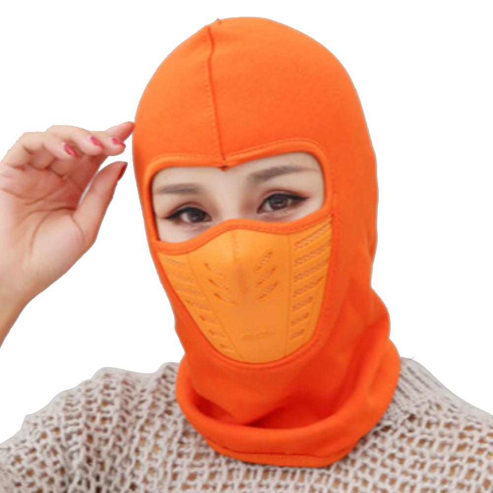 Outdoor Sleeve Cap Winter Warm Bicycle Face Mask Bike Climbing Skiing Windproof Thermal Polar Fleece Head Protector Orange_Polar fleece