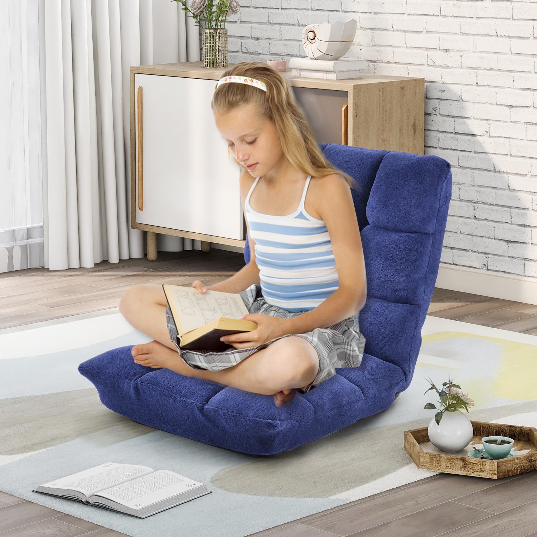 [US Direct] Orisfur. Fabric Upholstered Folding Lazy Sofa Chair Adjustable Floor Sofa Chair Yellow