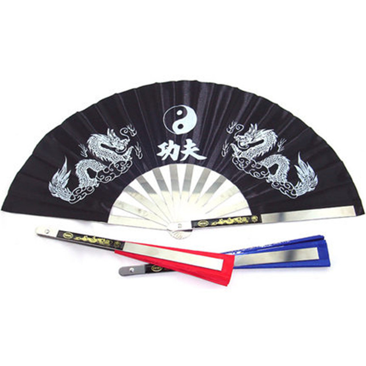 Fans Stainless Steel Frame Chinese Fans Tai Chi Martial Arts Tools Tai Chi Fan Black