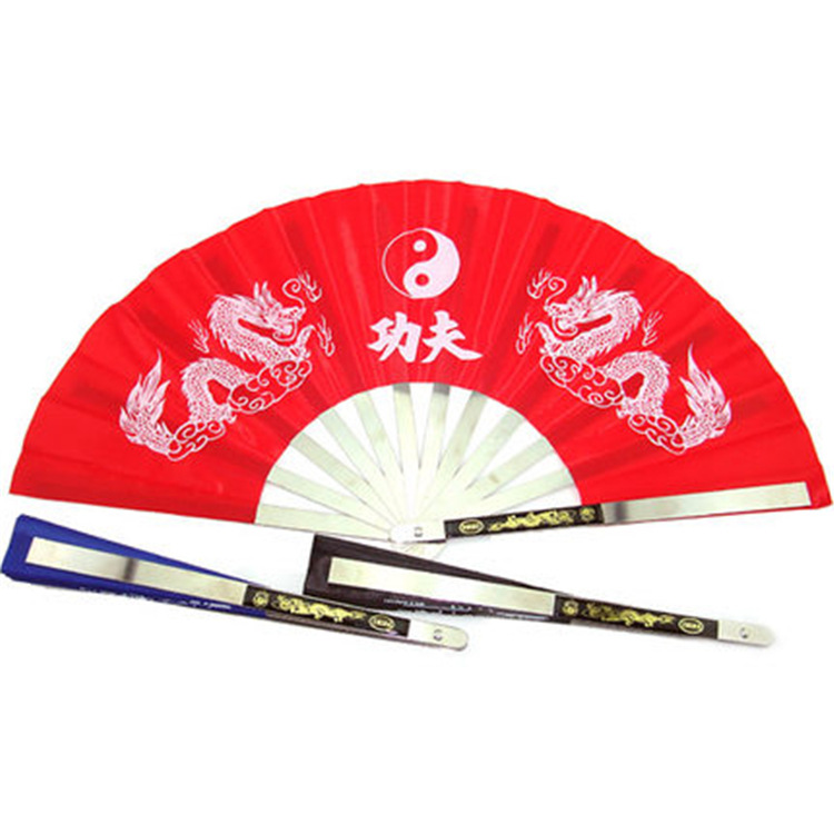 Fans Stainless Steel Frame Chinese Fans Tai Chi Martial Arts Tools Tai Chi Fan Red
