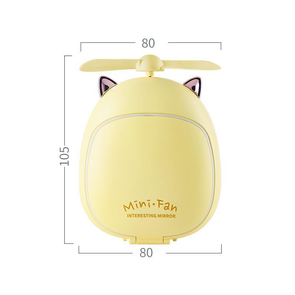 Cartoon Bear Beauty Makeup Mirror Lamp Fan Handheld Portable USB Rechargeable Small Fan Kitten yellow_10.5 * 3.5 * 8cm