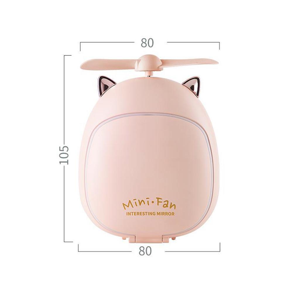 Cartoon Bear Beauty Makeup Mirror Lamp Fan Handheld Portable USB Rechargeable Small Fan Kitten pink_10.5 * 3.5 * 8cm