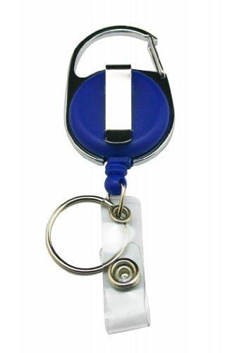 Yongshida Carabiner Style Retractable ID Card Reel Split Ring Strap Clip Pack of 8