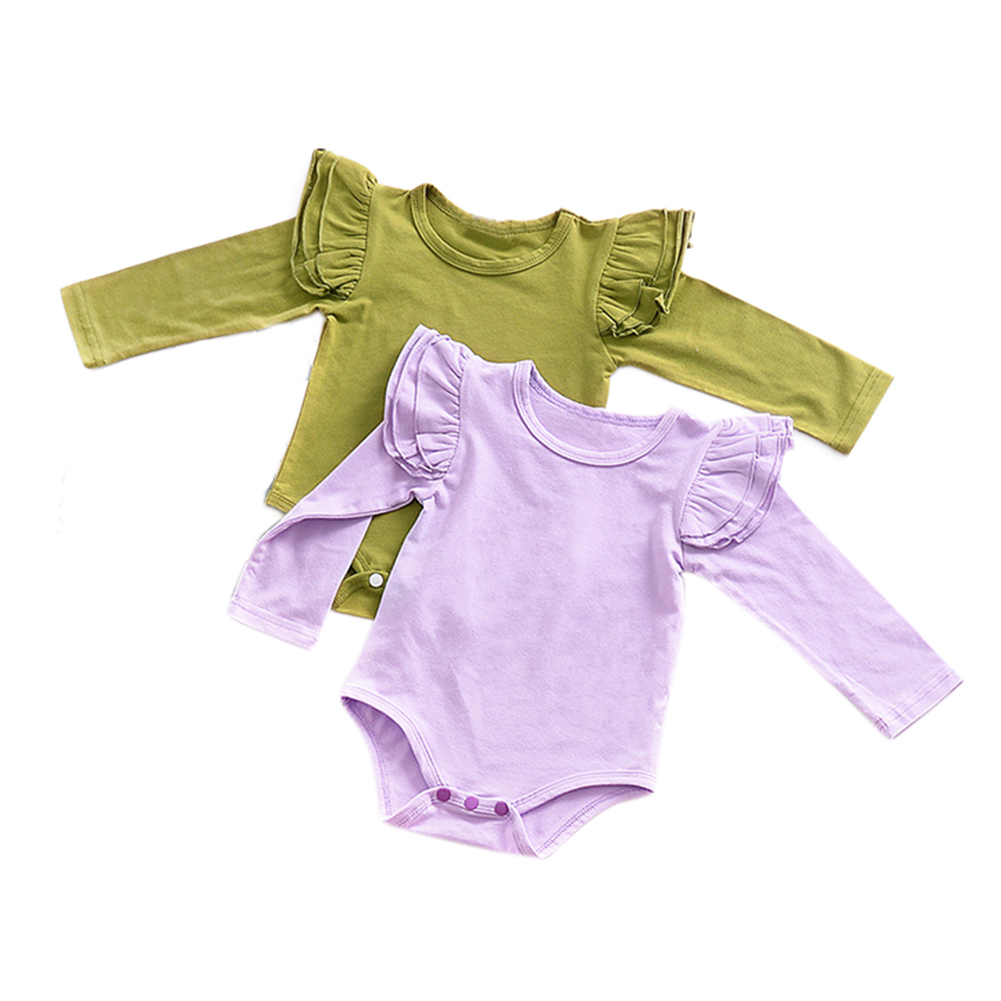 2Pcs Baby Newborn Girl Soft Cotton Flying Sleeve Jumpsuits Solid Color Rompers