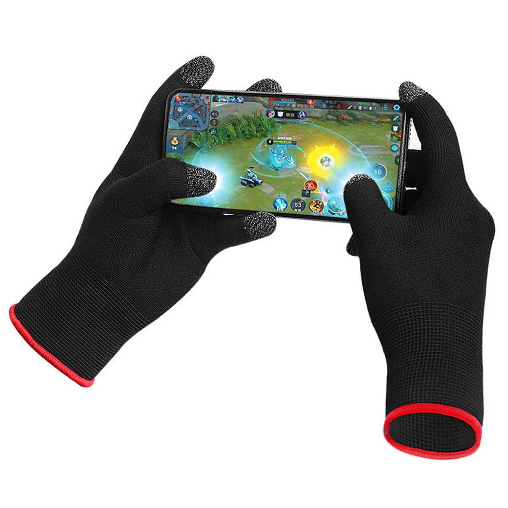 Gaming Touch Screen Gloves Unisex Warm Breathable Ultra-thin 5-finger Anti-slip Sweat-proof Gloves black