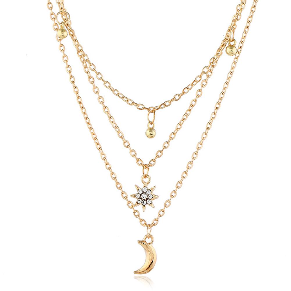 Women Necklace Alloy Multilayer Star Moon Shape Pendant Electroplating Necklace Golden