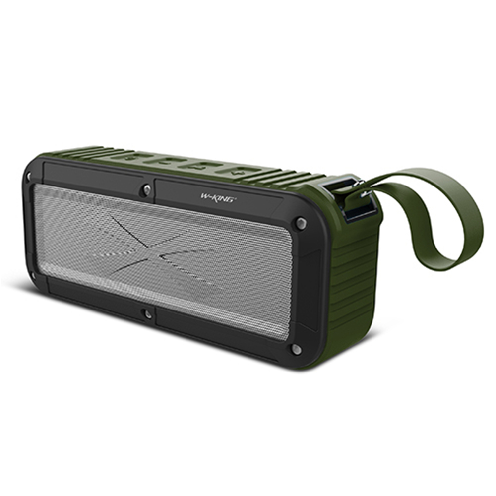 W-king Bluetooth Speaker S20 IPX6 2000mAh FM Wireless Portable Speaker with Microphone and NFC Support for Cellphone Army Green