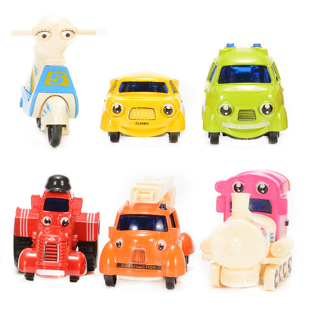 [US Direct] 1/64 Scale Mini Cartoon Diecast Metal Sliding Cars Vehicle Playset (6 Pieces)
