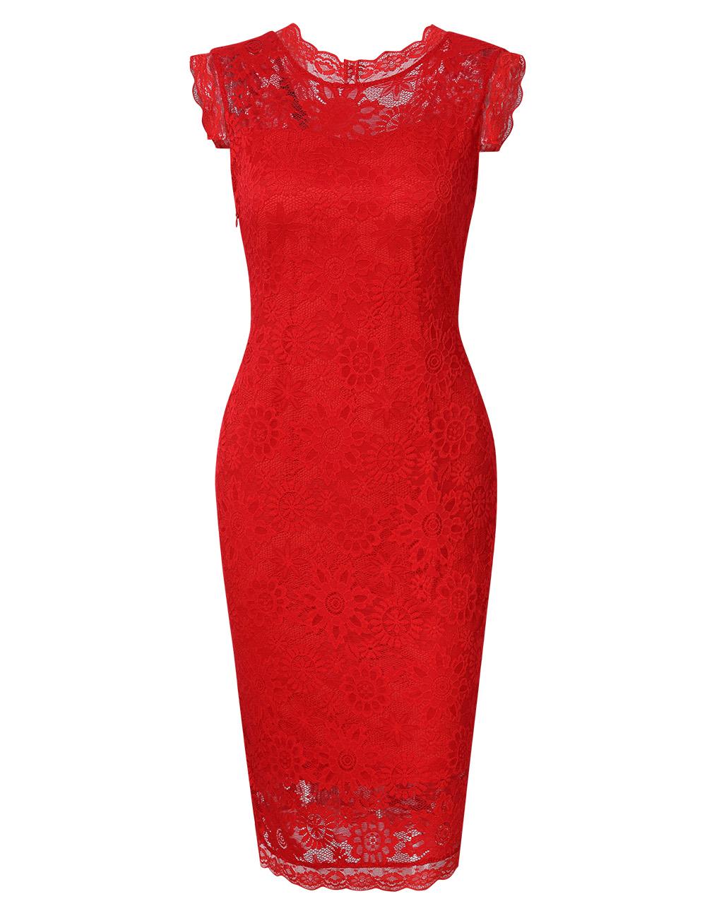 HIQUEEN Women's Slim Sleeveless Elegant Floral Lace Cocktail Evening Dress Black XXL