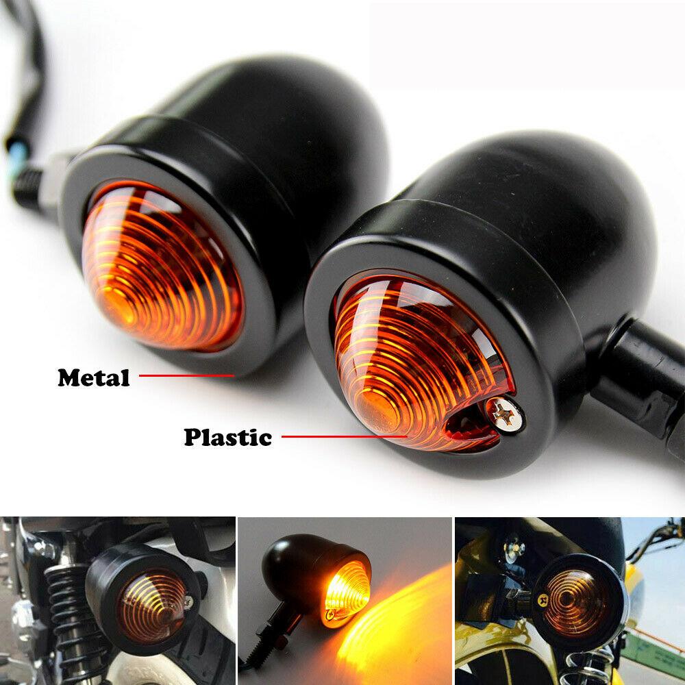 1pair Metal Motorcycle Turn Signal Lights Steering Lights black