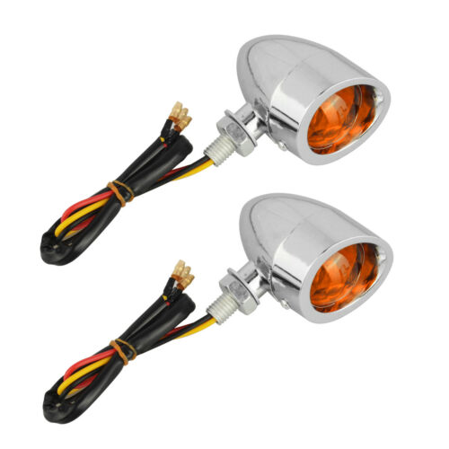 Chrome Motorcycle Turn Signal Amber Lights Indicator Silver