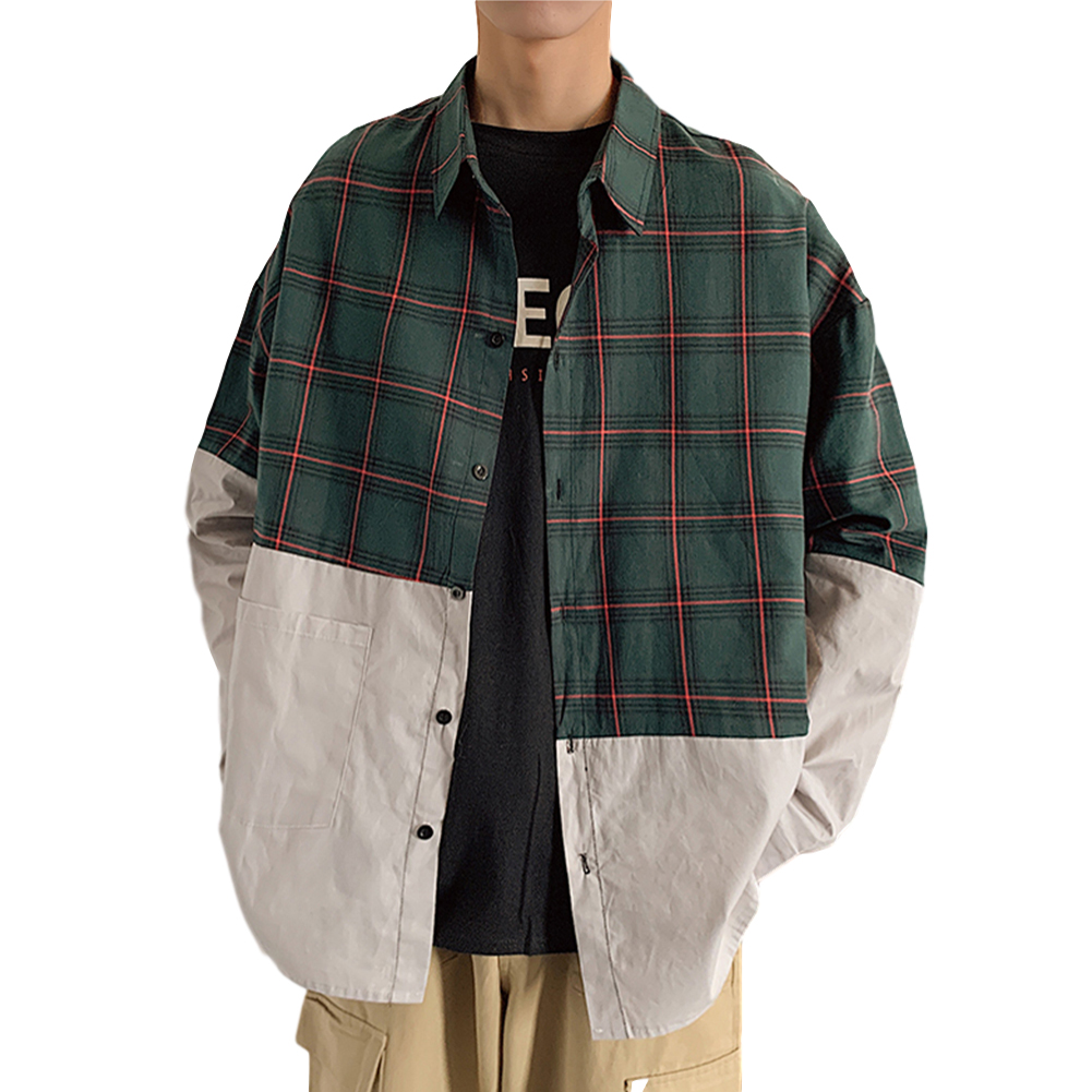Men's Leisure Shirt Plaid Stitching Plus Size  Loose Casual Long-sleeved Shirt Green _M