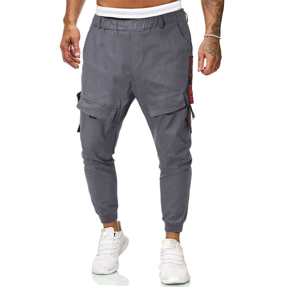 Men Casual Trousers Elastic Waist Pants for Spring Autumn Sports  Grey_L