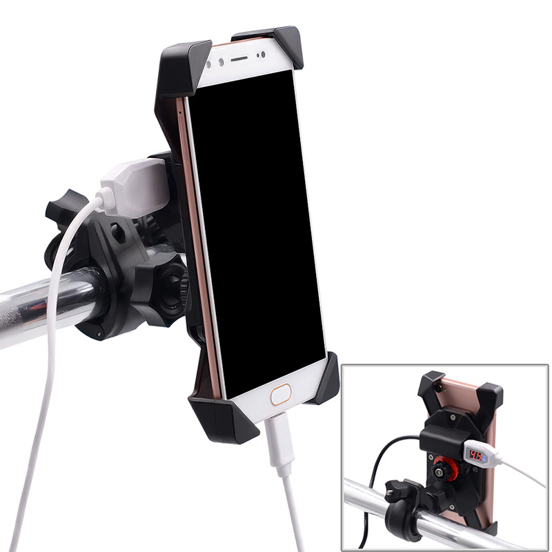 Motorcycle 12v To 5v Mobile  Phone  Holder Rechargeable Fixed Shockproof Anti-drop Modified Accessories As picture show