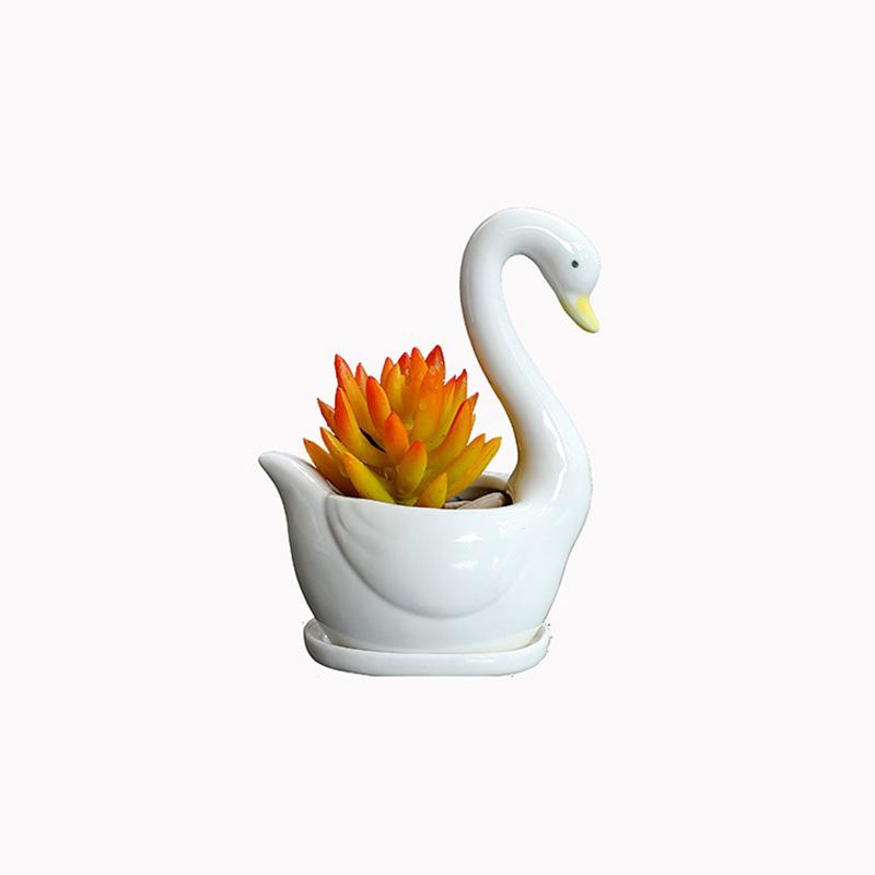 Ceramic White Swans Flower Succulent Planter Pot Ornaments for Home Decoration  White_High 15CM, about 10CM