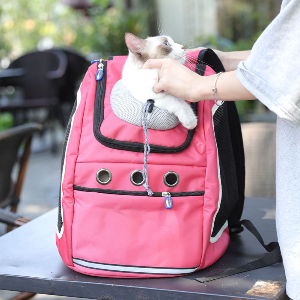 Transport Package Travel Portable Schoolbag Backpack for Cat and Dog red_L