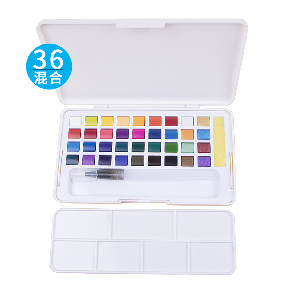 Pearlescent Color Solid Watercolor Paint  Set Nail Art Watercolor Painting For Beginners 36 color mixing