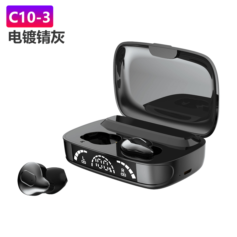 1 Pair Of Bluetooth  5.1  Headset Tws Mini Touch Wireless Headset With Power Display black