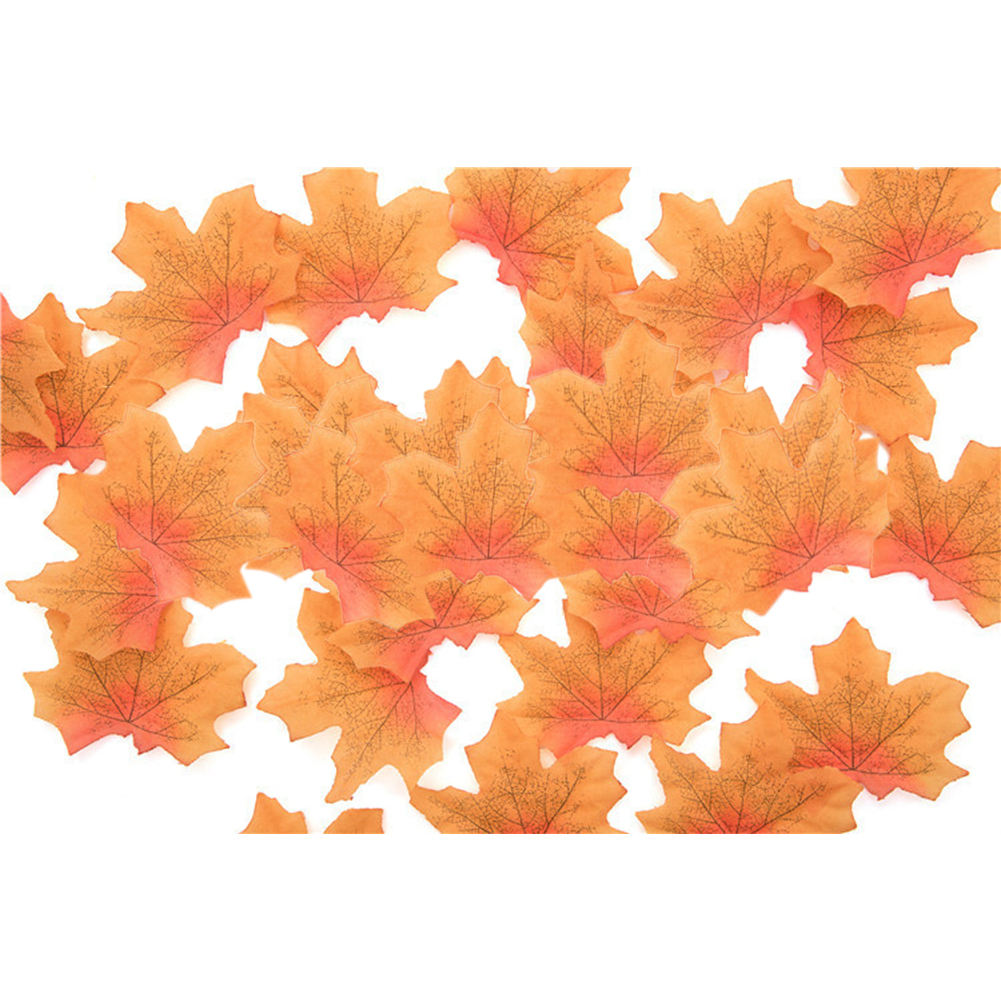 50 PCS/Set Simulation Maple Leaves for Wedding Party Festival Decoration Photo Props... No. 6 red heart yellow (50 pieces)