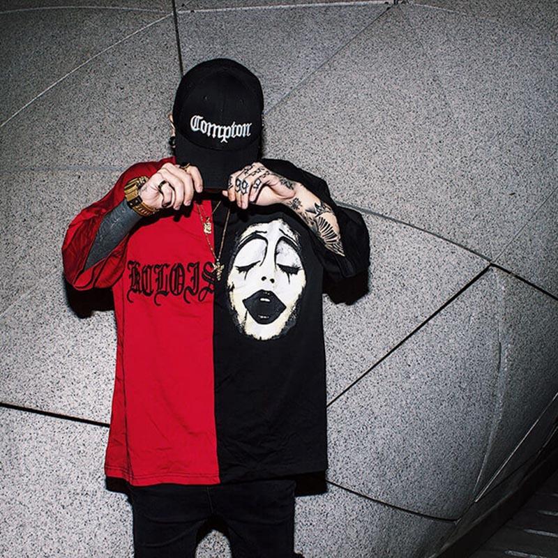 Women Men Clown Face Hip-Hop Loose Short Sleeve Spliced T-shirt for Summer Casual Red/black_L