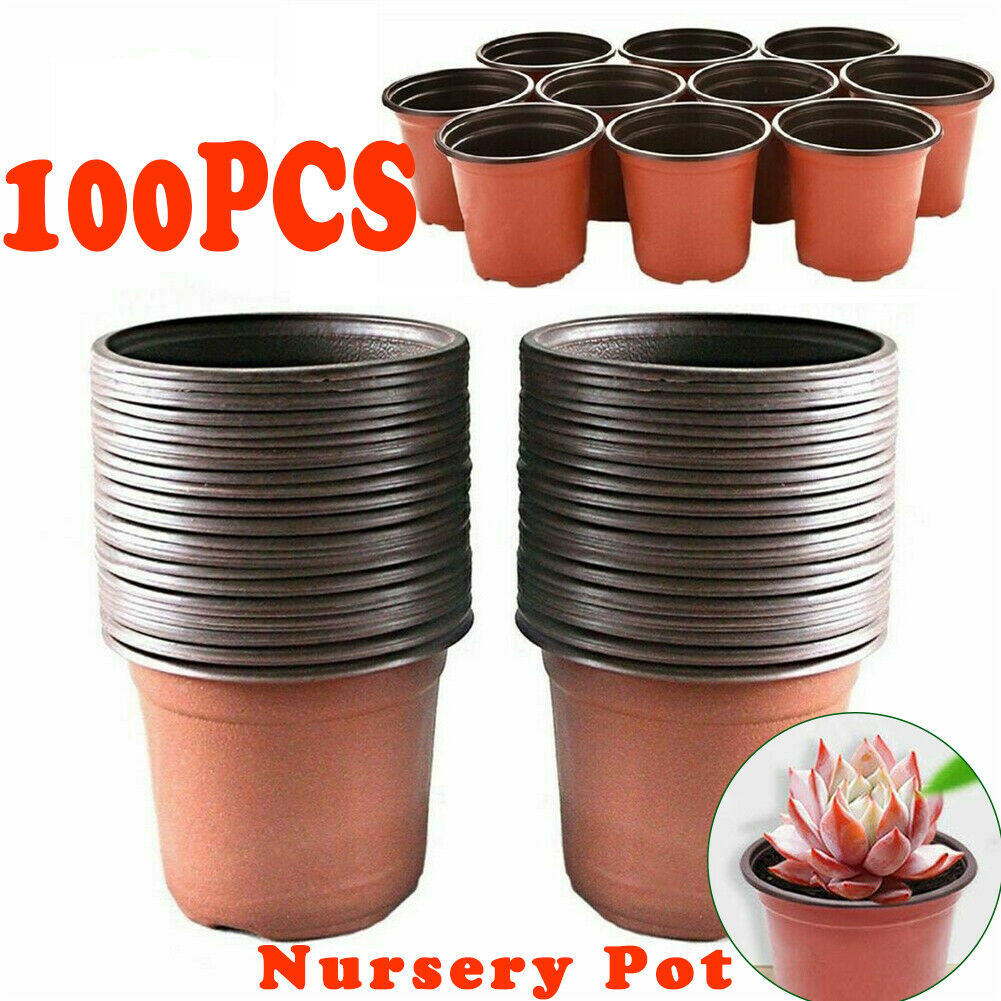 100Pcs/Set Thickened Plastic Plant Nursery  Pots Flower Seedlings Tray For Home Garden 110mm