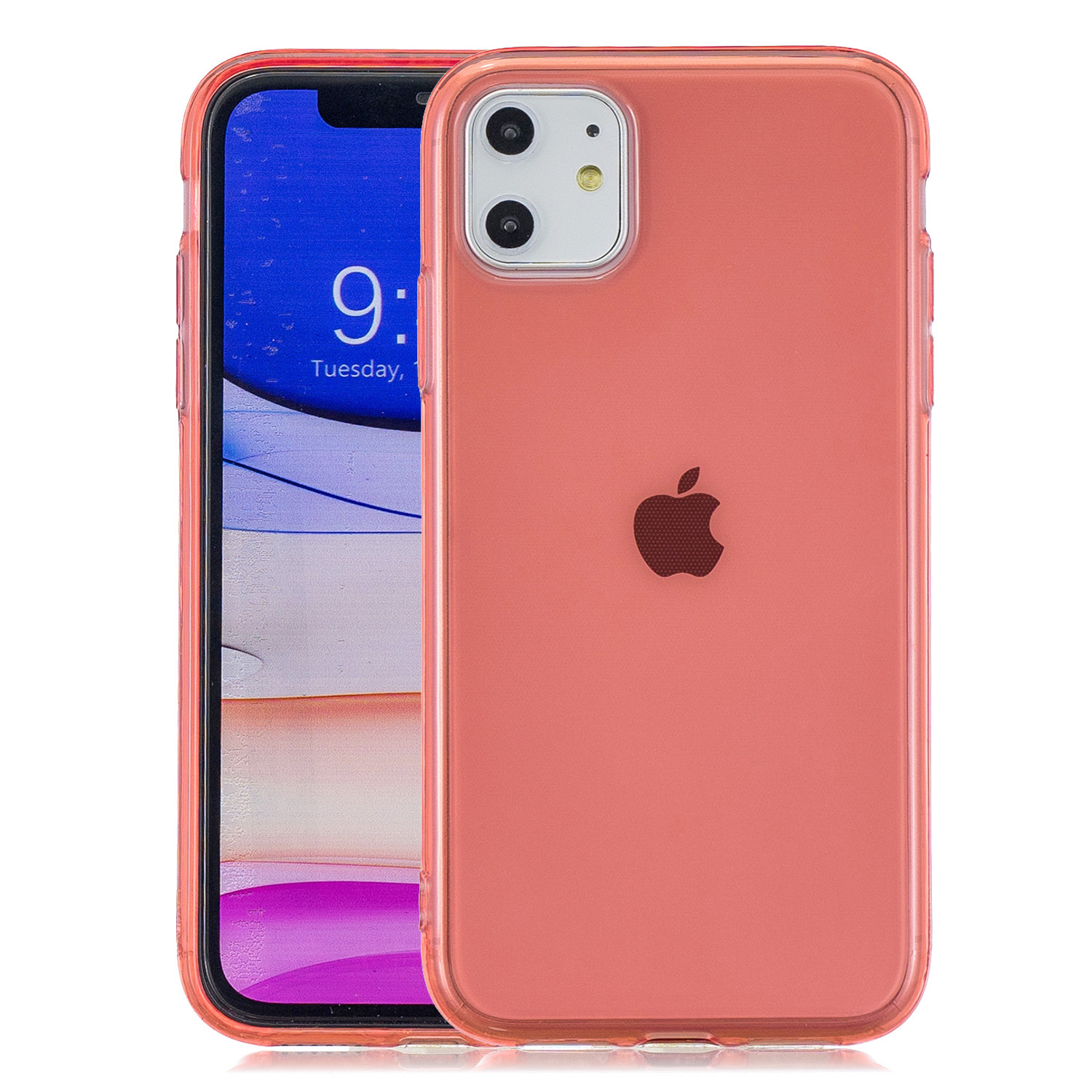 for iPhone 11 / 11 Pro / 11 Pro Max Clear Colorful TPU Back Cover Cellphone Case Shell Red