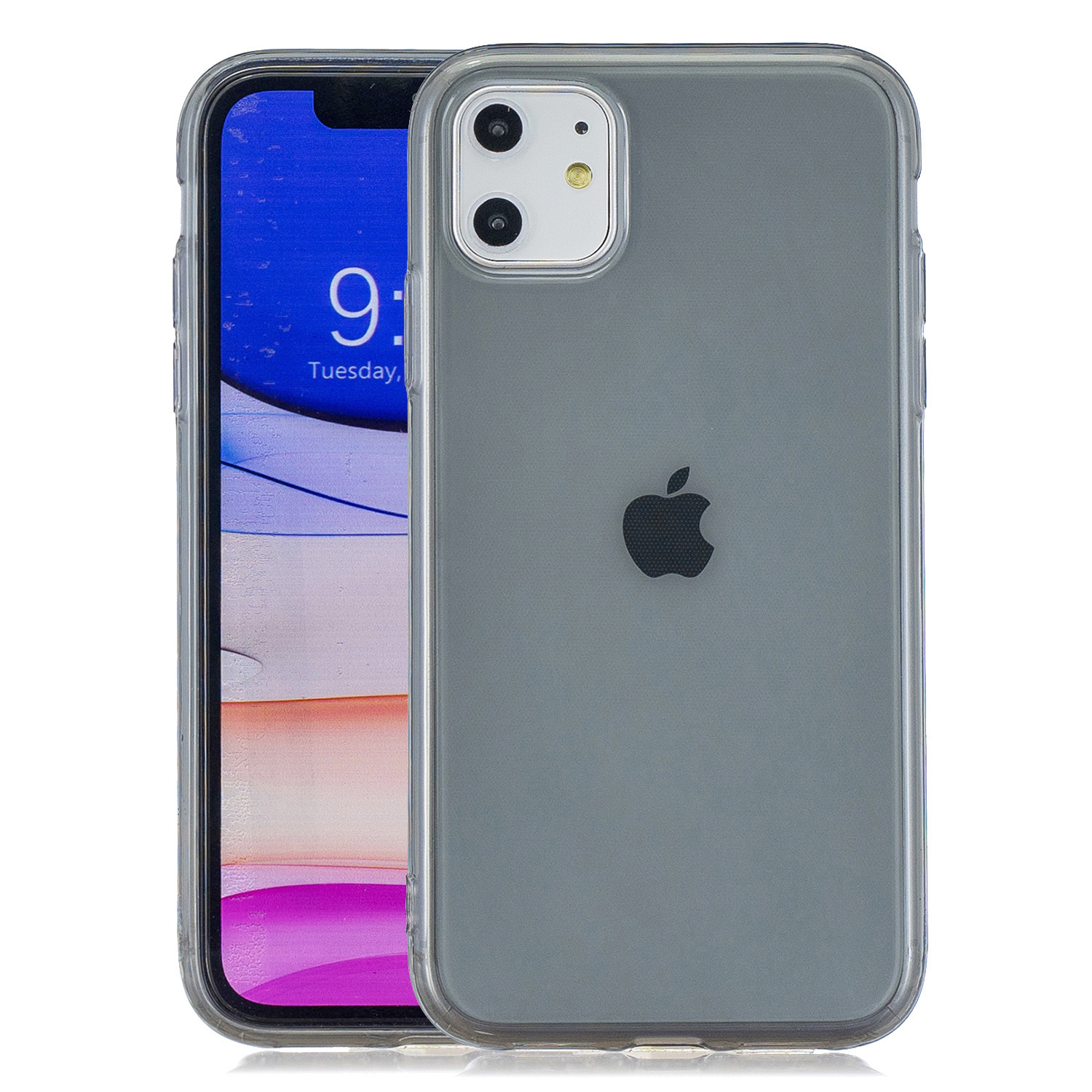 for iPhone 11 / 11 Pro / 11 Pro Max Clear Colorful TPU Back Cover Cellphone Case Shell Black
