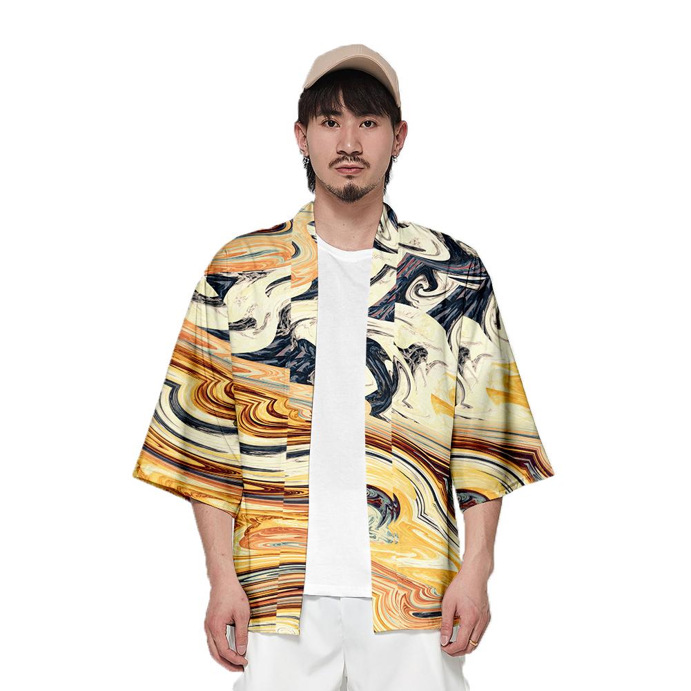 Unisex Fashion Thin Sunscreen Robe Half Sleeve Loose Large Size Kimono Clothes V00016-3M25_M