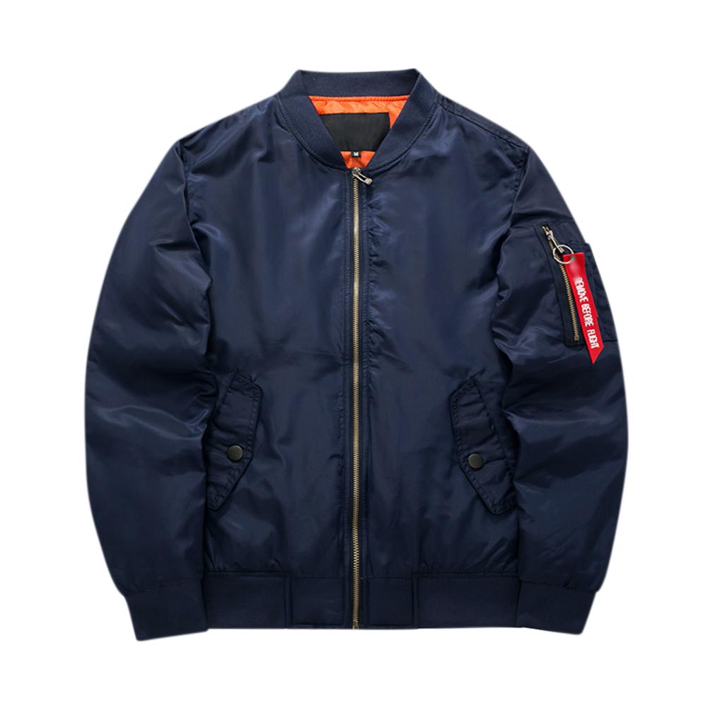 Men Winter Thick Jacket Warm Casual Cotton Short Coat Outwear Tops Navy blue_M