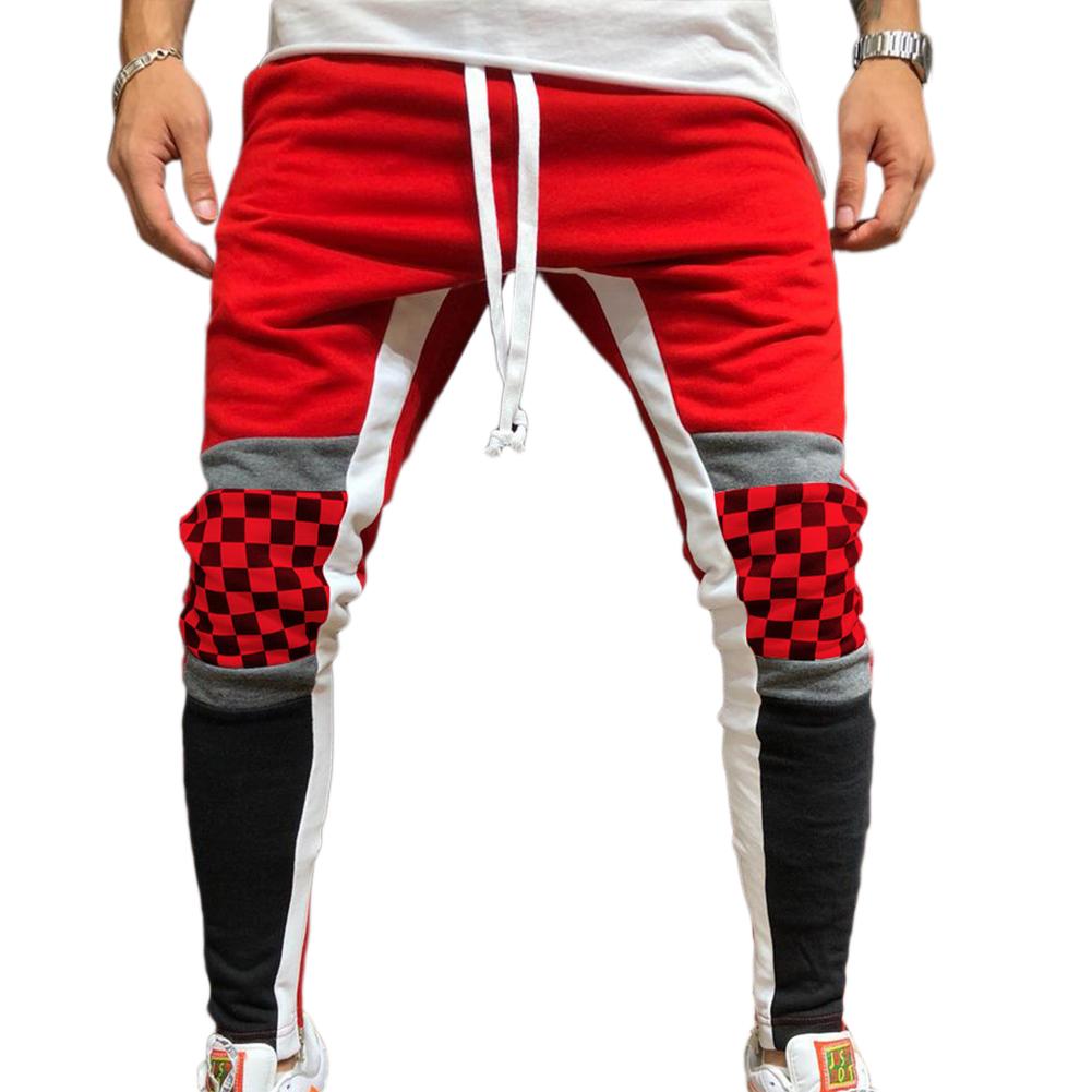 Men Jogger Stadium Gymnasium Runway Colorful Striped Runway Casual Pants red_M