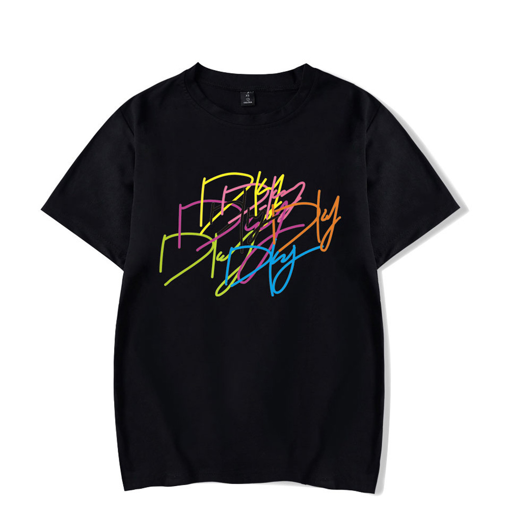 Men Women Summer Seventeen Korean Group Casual Loose T-shirt B black_XXXL