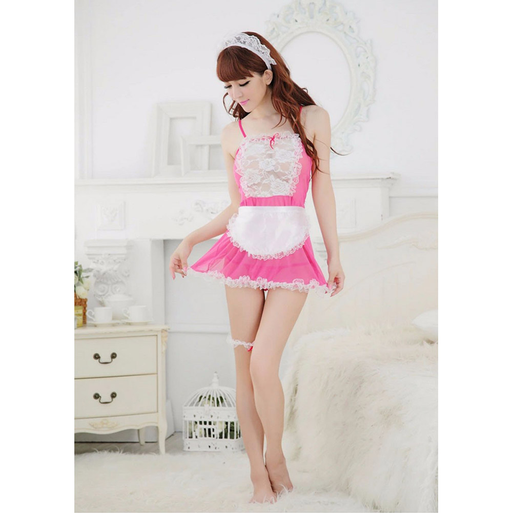 Women Sexy Lingerie Maid Uniform Costumes Role Play Sexy Underwear Lovely Female White Lace Erotic Costume One size_C