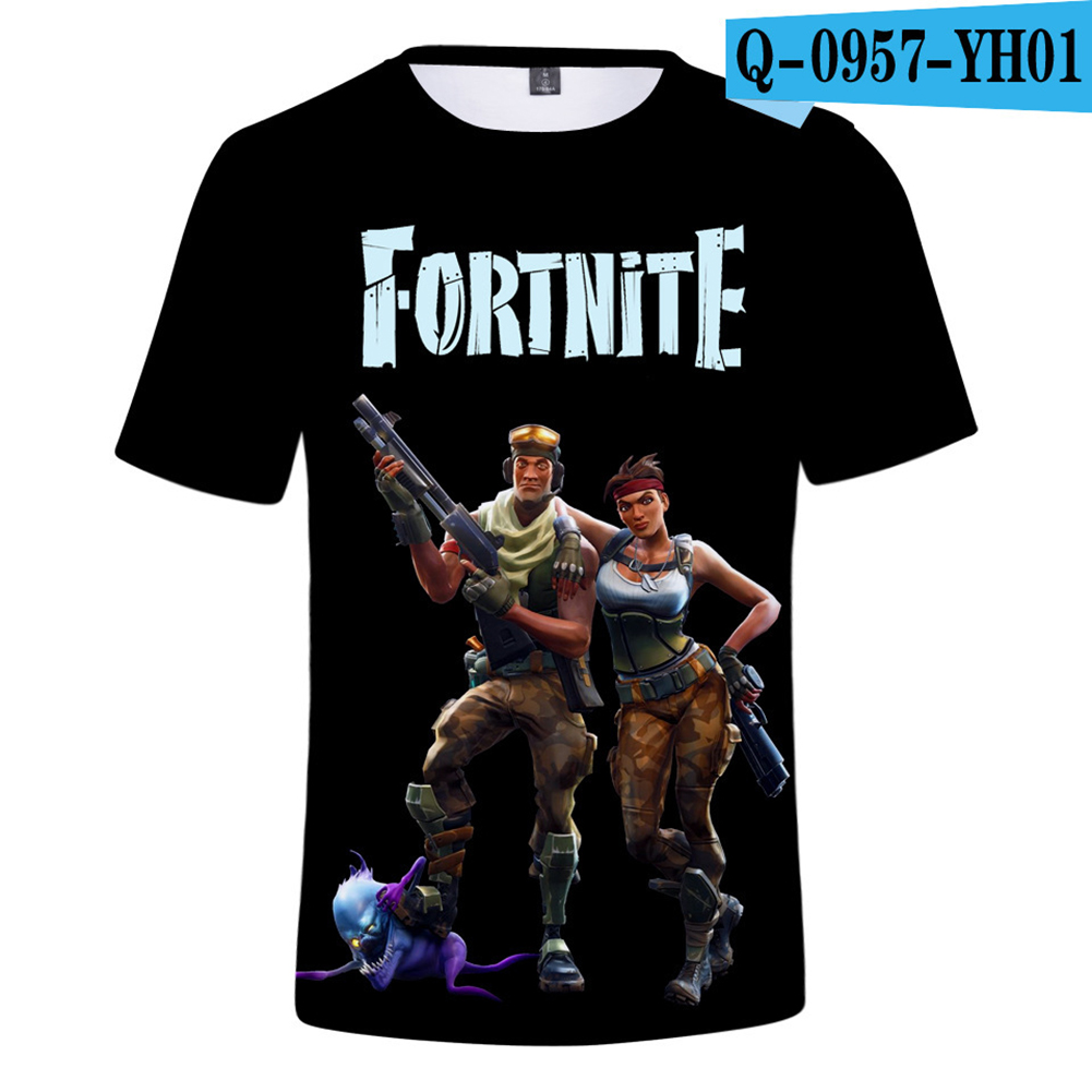 Casual 3D Cartoon Pattern Round Neck T-shirt Picture color S_XS