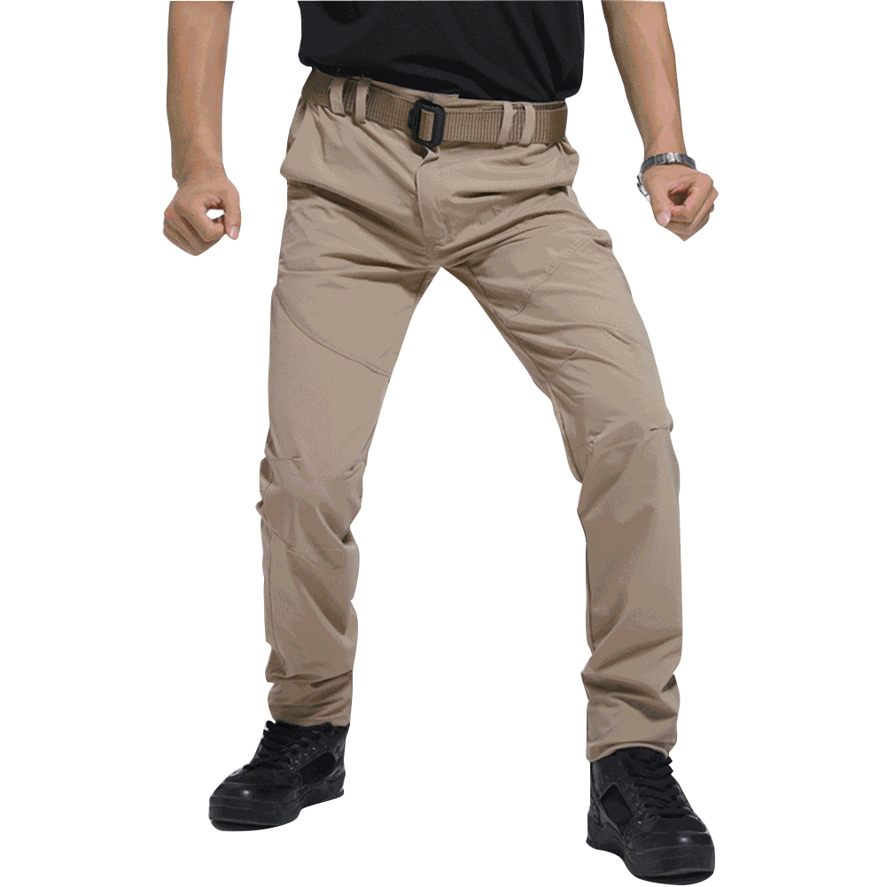 Men Thin Wear Resistant Cargo Pants with Pockets Khaki_M