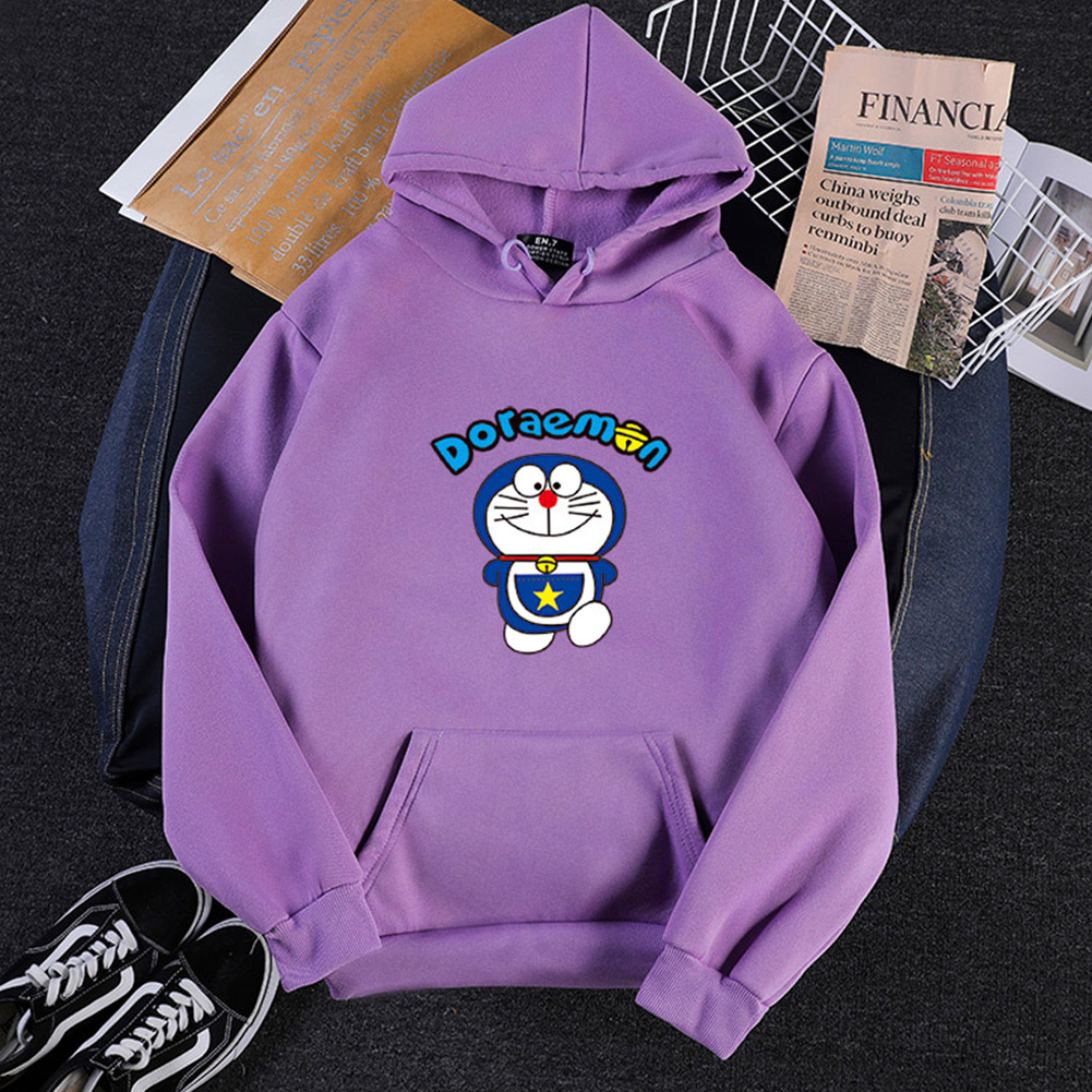 Men Women Hoodie Sweatshirt Doraemon Cartoon Thicken Loose Autumn Winter Pullover Tops Purple_L