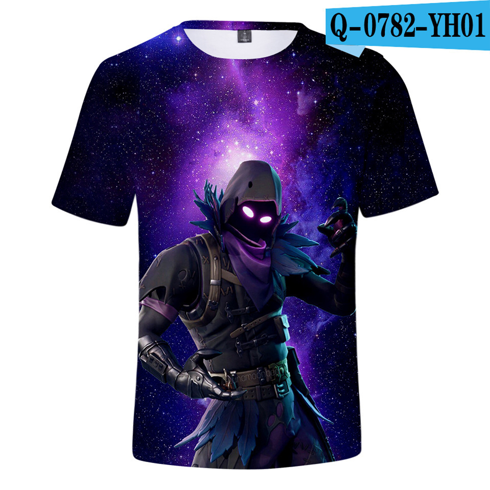 Casual 3D Cartoon Pattern Round Neck T-shirt Picture color R_L