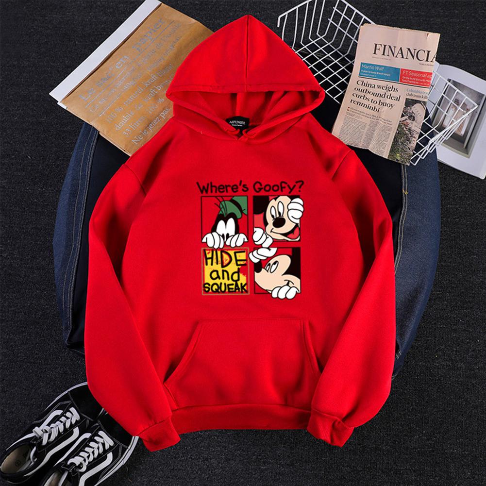 Men Women Hoodie Sweatshirt Micky Mouse Cartoon Thicken Autumn Winter Loose Pullover Red_M